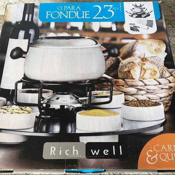 Conjunto branco para fondue base giratória