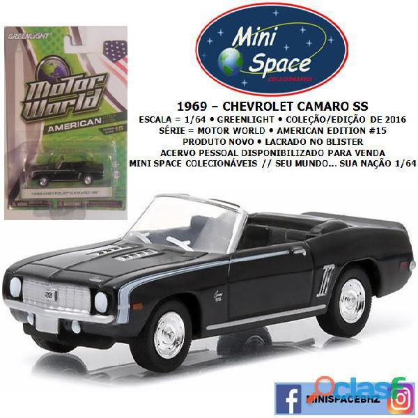 Greenlight 1969 chevrolet camaro ss cor preto 1/64