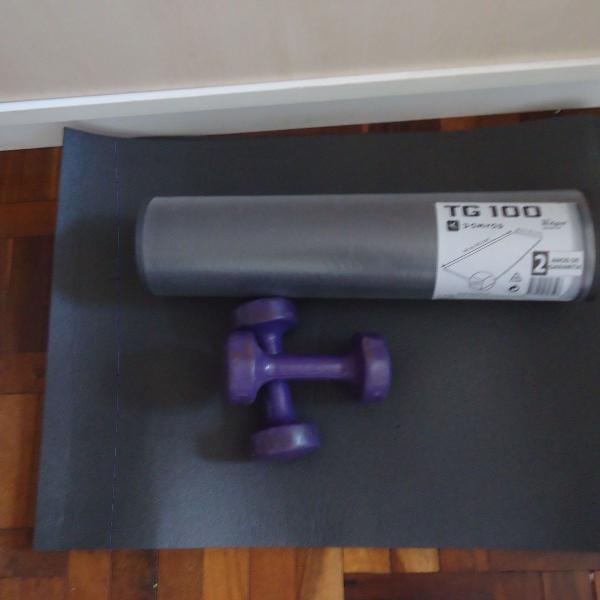 Par de halteres 3 kg + 2 tapete fitness domyos