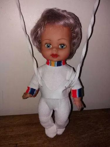 Boneca bebê balanço 28 cm atmz antigo anos 70 impecável