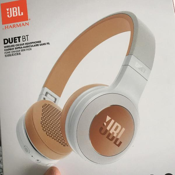 Headphone jbl duet bt bluetooth branco e marrom