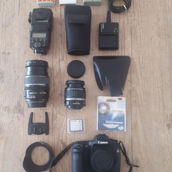 Kit completo: canon eos 40d + lentes + acessórios