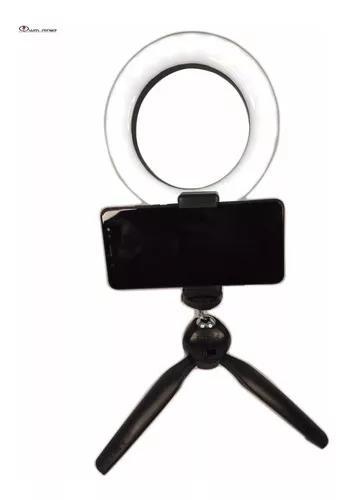 Anel de luz led ring light 16 cm tripé mesa suporte celular