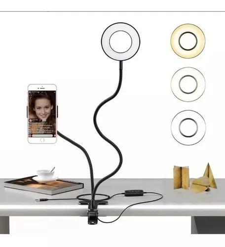 Suporte para celular de mesa para selfie com luminária led