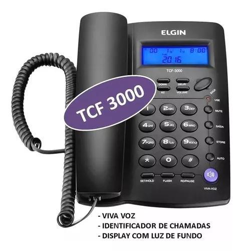 Telefone com fio elgin tcf-3000 com viva-voz e identificador