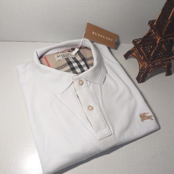 Camisa pólo masculina gg burberry branca piquet 100%