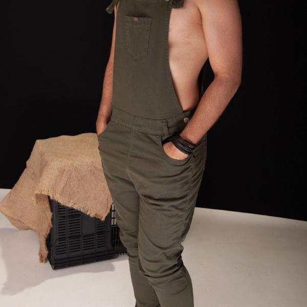 Macacão masculino jeans verde