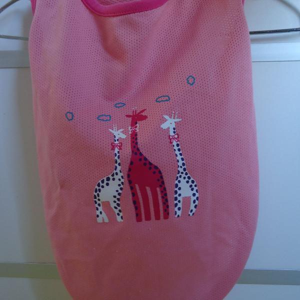 Roupa para pet regata rosa girafa usado