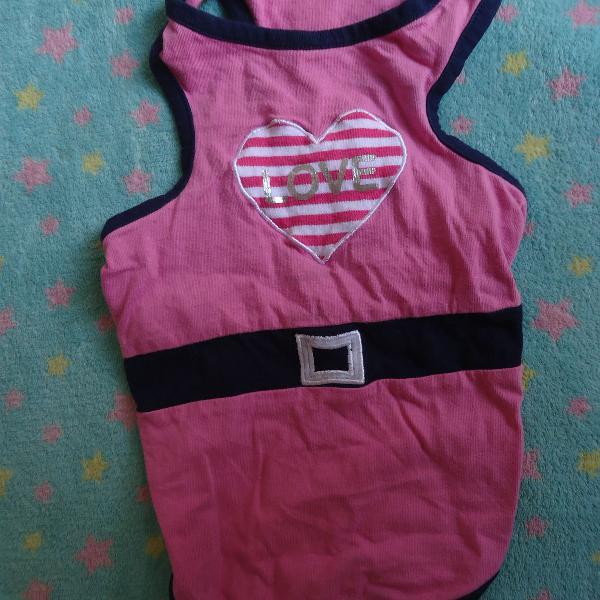 Roupa para pet regata rosa coração usado