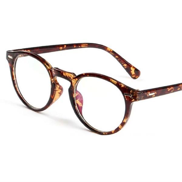 Armação de óculos grau vintage retrô redondo marrom