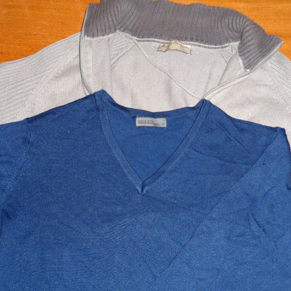 Suéter slim masculino m + blusa de frio g