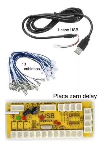 Placa usb zero delay arcade pc ps3 ps4 com cabos