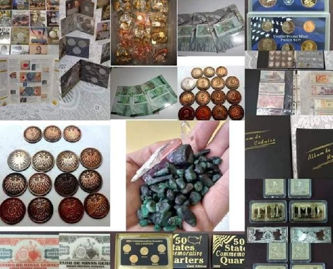 Cédulas, moedas, selos, álbuns e outros, preço sob