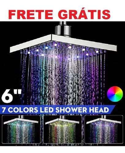 Ducha chuveiro quadrado slim led 3 cores 15cm frete gratis