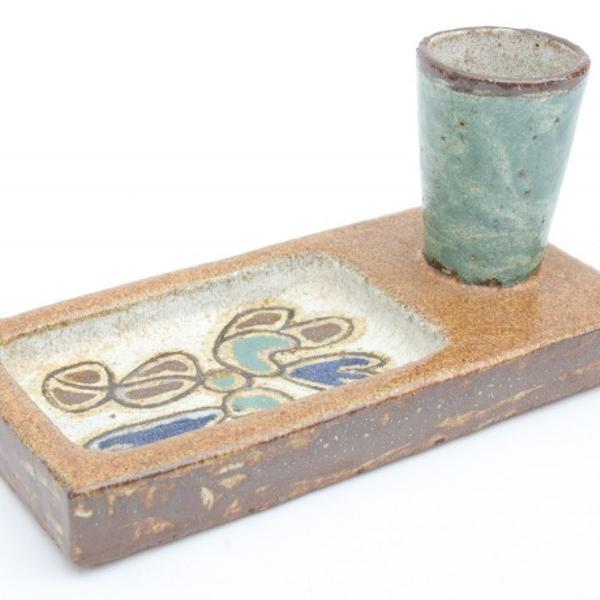 Francisco brennand - ceramica porta cartões e canetas - ass