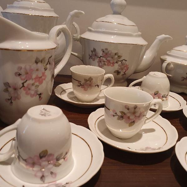 Jogo chá, café e bolo 6 pessoas porcelana real