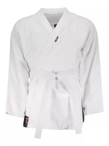 Kimono de judo shiroi reforçado branco azul c/ faixa adulto