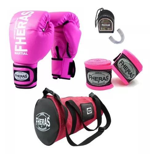 Kit boxe muay thai fheras luva bolsa bandag
