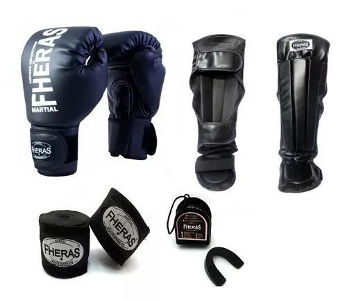 Kit boxe muay thai fheras luva caneleira anat bandag
