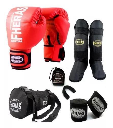 Kit boxe muay thai luva caneleira bolsa bandag
