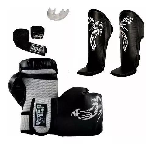 Kit boxe muay thai mma br caneleira e acessórios