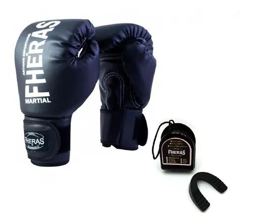 Kit boxe muay thai mma luva + protetor bucal fheras f