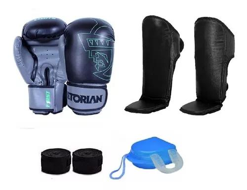 Kit boxe muay thai pretorian 2019 caneleira e acessórios