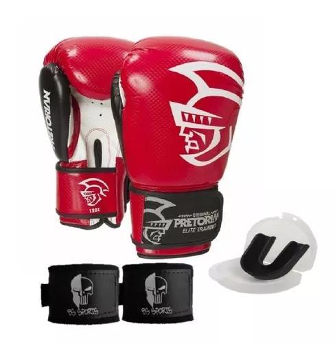 Kit boxe muaythai pretorian elite vermelha
