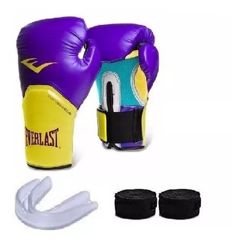 Kit de boxe / muay thai - luva everlast cores + acessórios