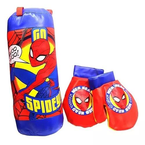 Kit de boxe para criança pancada saco luta luvas spiderman