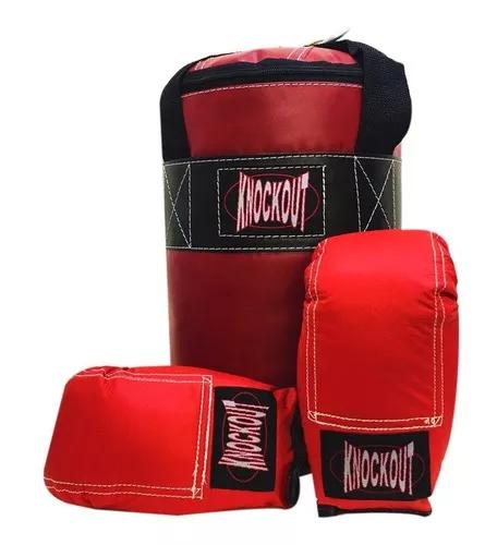 Kit infantil saco pancada boxe muay thai + luvas knockout
