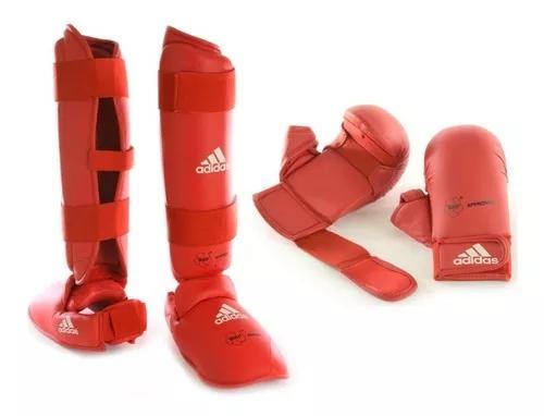 Kit karate adidas: caneleira + luva com selo oficial da wkf