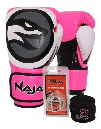 Kit luva boxe thai colors rosa naja bucal bandag