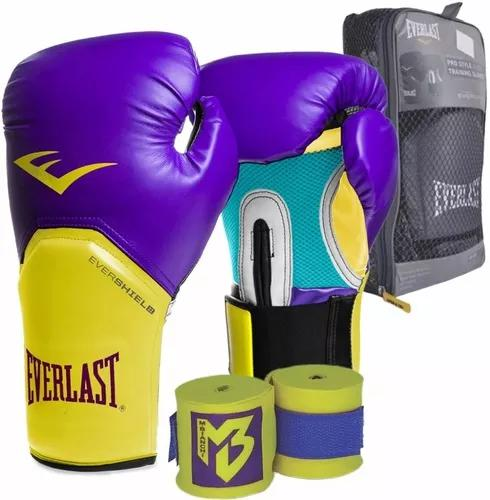 Kit luva everlast boxe muay thai roxo e amarelo + bandag