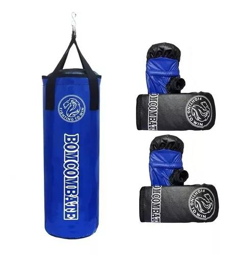 Kit saco de pancada infantil + 2 pares de luvas azul