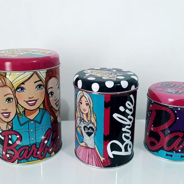 Kit com 3 latas decorativas da barbie