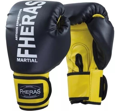 Luva boxe muay thai mma fheras orion preta e amarela treino