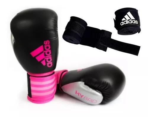 Luva boxe muay thai adidas hybrid 100 pink rosa + bandag