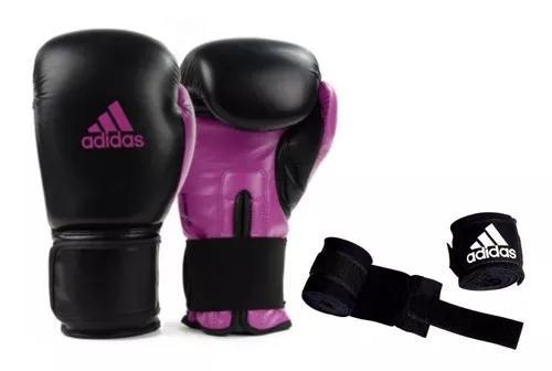 Luva boxe muay thai adidas power100 preta c/ rosa + bandag