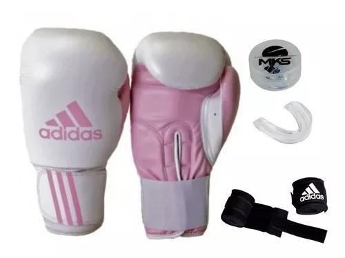 Luva boxe muay thai adidas response rosa + bandag