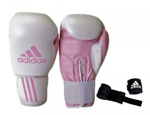 Luva de boxe e muay thai adidas response rosa + bandag