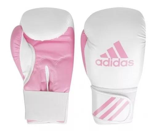 Luva de boxe muay thai adidas response branca e rosa 10 12oz