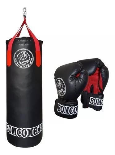 Saco de pancada muay thai 90x33 + luva de boxe profissioal