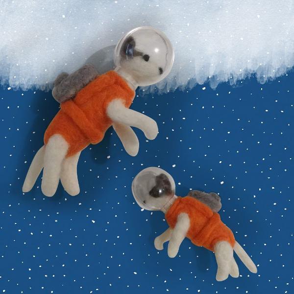 Cachorro astronauta laika lã feltrada