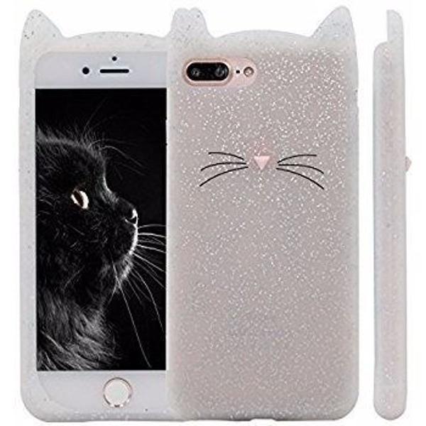 Capinha case gatinho glitter emborrachada iphone 6 6s