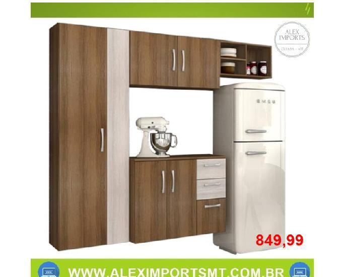 Armário cozinha 6 portas 2 gavetas com balcão maraisa