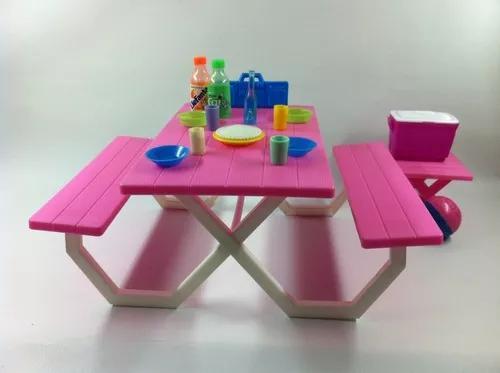 Brinquedo antigo mesa pic nic parque coleção boneca barbie