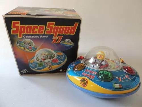 Brinquedo Antigo - Space Squad X7 - Disco Voador - Glasslite