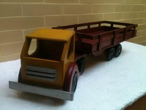 Caminhão De Madeira Grande Brinquedo Antigo Anos 60/70