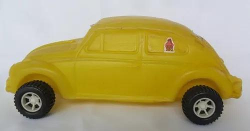 Fusca carrinho carro amarelo plástico bolha brinquedo